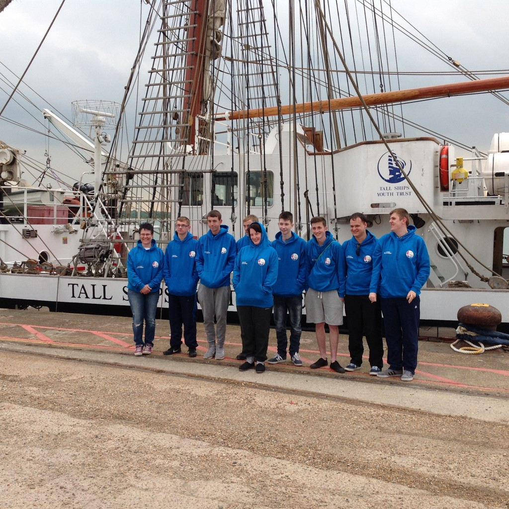 High Tide Foundation students stood in front of Tall Ships vessel