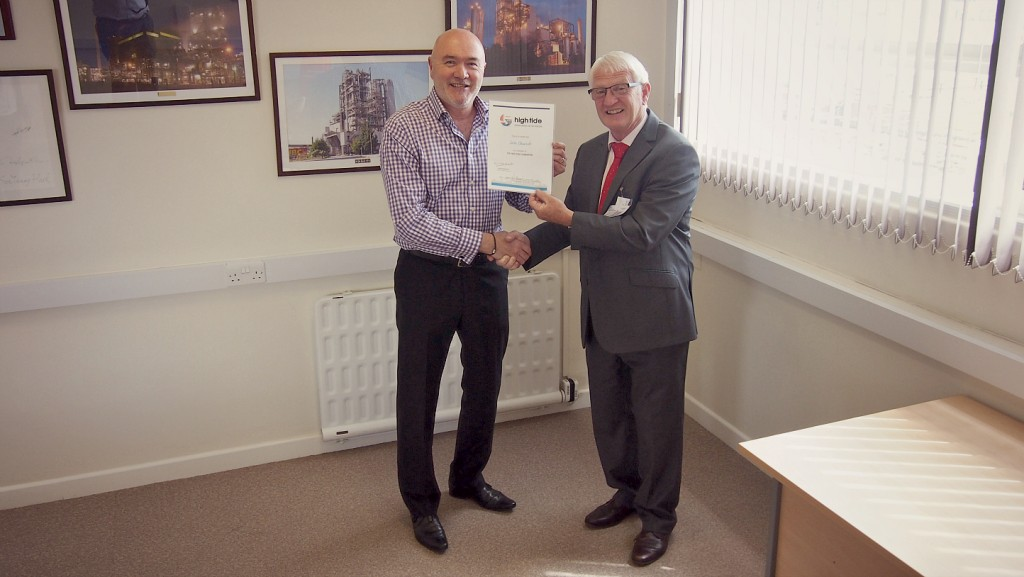 Lotte Chemical UK being handed High Tide certificate