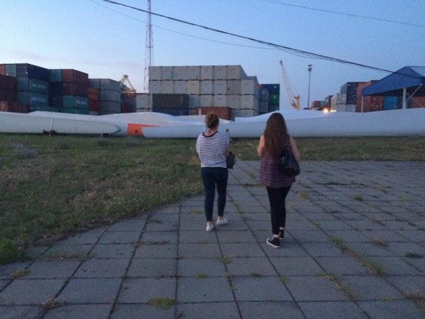 Amy Bain and Chloe Hodge on container ship to Lithuania with High Tide Foundation